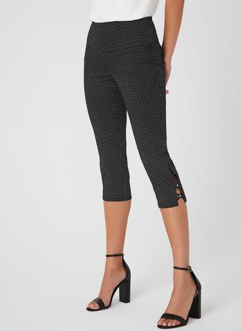 Printed Bengaline Capri Pants, Black, hi-res