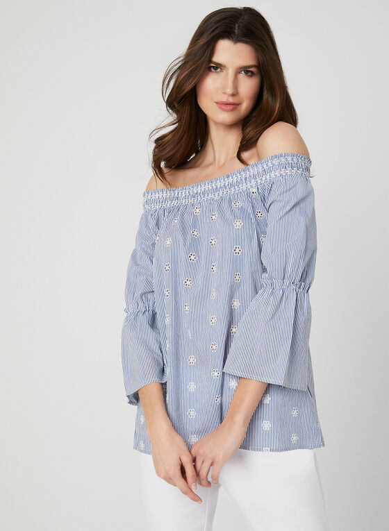 Stripe Print Off-the-Shoulder Blouse, White, hi-res