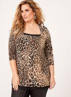 Leopard Print Jersey Top , Black, hi-res