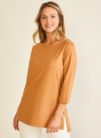 ¾ Sleeve Cotton Blend Tee, Brown,  t-shirt, 3/4 sleeves, boat neck, high low, cotton blend, spring summer 2020