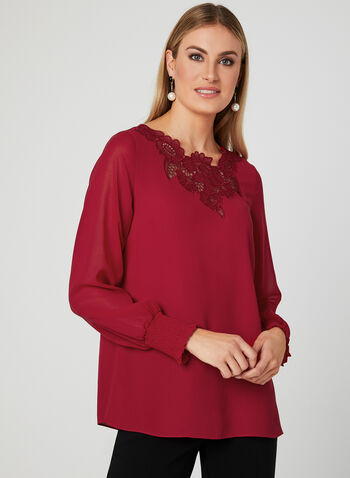 Lace Neck Blouse, Red, hi-res