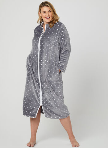 Claudel Lingerie - Fleece Nightgown, Grey, hi-res