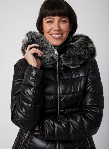 Manteau matelassé à capuchon et fausse fourrure, Noir, hi-res,  manteau, matelassé, capuchon, fausse fourrure, zip, automne hiver 2019