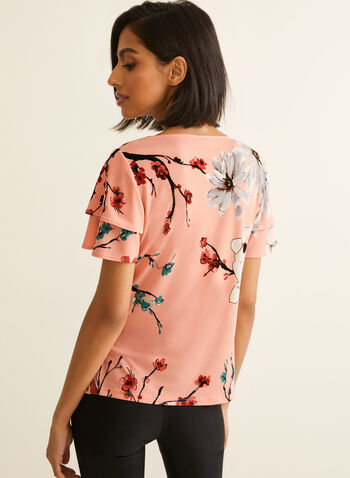 Ruffle Sleeve Jersey Top, Multi,  spring summer 2020, jersey fabric,floral print, short sleeves, flutter sleeves