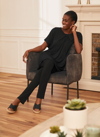 Short Sleeve Pleated Effect Tunic, Black,  top, tunic, blouse, pleated, short sleeves, scoop neck, modal, spring summer 2021