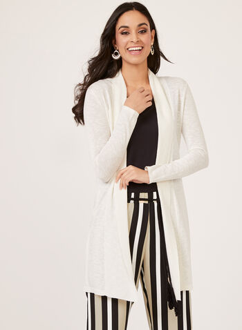 Linea Domani - Open Front Knit Duster Tunic, Off White, hi-res
