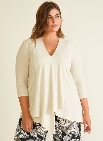 Joseph Ribkoff - Layered Asymmetric Top, Off White,  top, 3/4 sleeves, jersey, layered, asymmetric, spring summer 2020