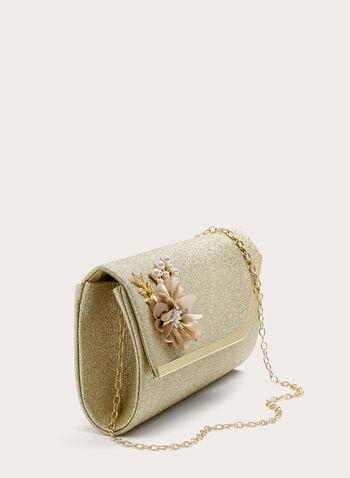 Brooch Detail Glitter Clutch, Gold, hi-res