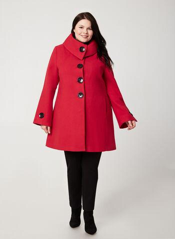 Wool-Like Envelope Coat, Red,  coat, envelop collar, faux wool, long sleeves