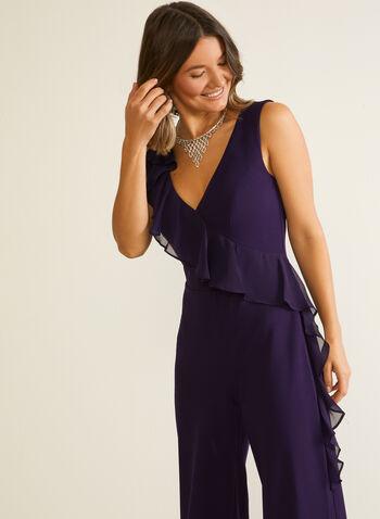 Wide Leg Ruffle Detail Jumpsuit, Purple,  jumpsuit, v-neck, wide leg, ruffle, cascade, trim, crepe, chiffon, stretchy, sleeveless, fall winter 2020