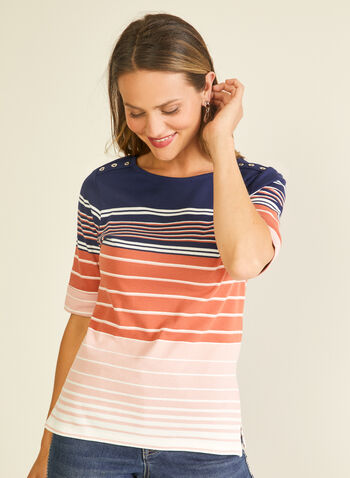 Stripe Print Elbow Sleeve Tee, Grey,  t-shirt, elbow sleeves, striped, scoop neck, cotton, spring summer 2020