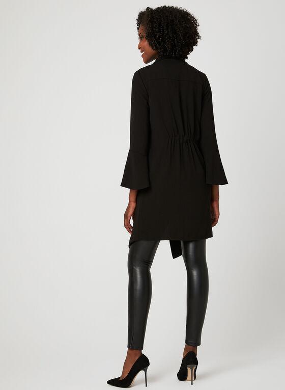 Veste longue déstructurée en crêpe, Noir, hi-res
