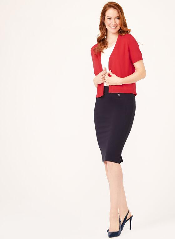 Open Front Short Sleeve Knit Bolero, Pink, hi-res