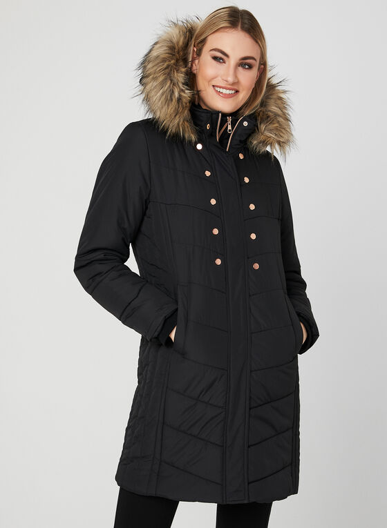 Hooded Quilted Coat, Black, hi-res