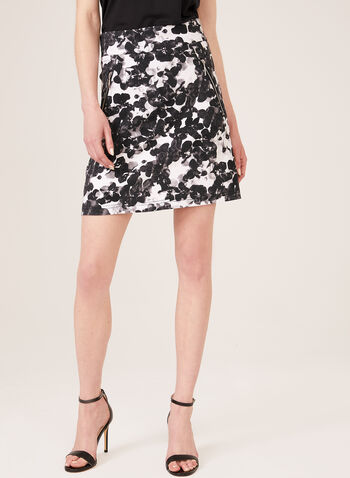 Simon Chang - Floral Print Skort, Black, hi-res