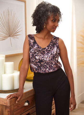 Sleeveless V-Neck Leopard Print Top, Pink,  fall 2021, v neckline, sleeveless, leopard, animal, print, pattern, motif, crepe, layering, fabric, light, flowy, blouse, top, shirt