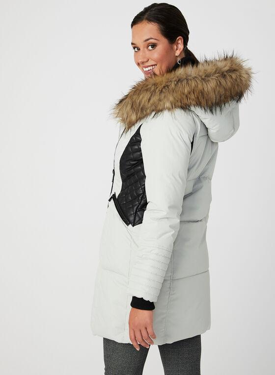 Manteau matelassé à capuchon en fausse fourrure, Blanc cassé, hi-res