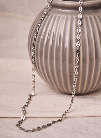 Long Chain Link Necklace, Silver,  necklace, chain, link, oval, long, silver, lobster, accessories, jewellery, jewelry