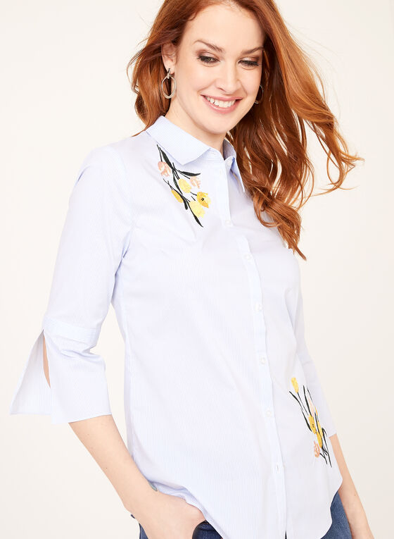 Floral Embroidered Button Down Top, Blue, hi-res