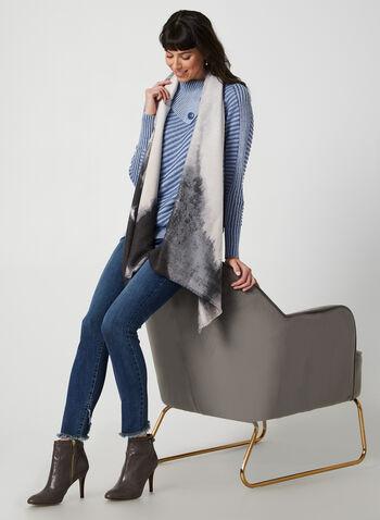 Pull à col asymétrique en tricot côtelé, Bleu,  pull, coton, manches longues, tricot côtelé, col fendu, boutons, automne hiver 2019