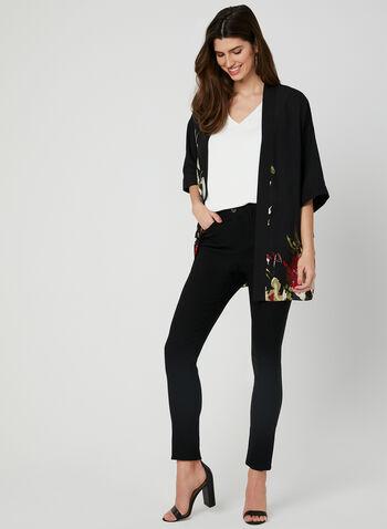 Floral Print Open Front Blouse, Black, hi-res,  blouse, crepe, floral, elbow sleeves, open front, spring 2019