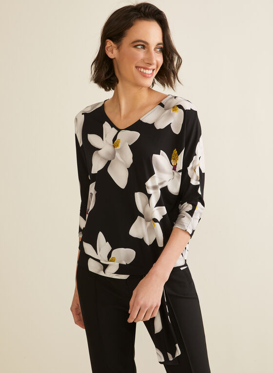 ¾ Sleeve Floral Print Top, Black