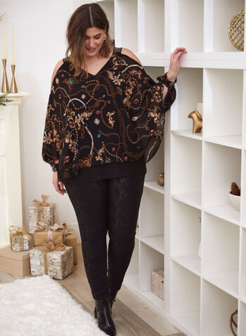 Top With Chain And Jewel Print, Black,  fall winter 2020, long sleeves, studs, jewels, chains, poncho, V neck, bare shoulders, holiday