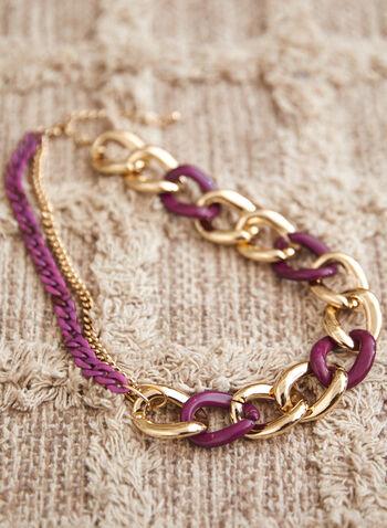 Collier à maillons dorés et résine, Violet,  accessoires, bijoux, collier, collier court, ajustable, fermoir mousqueton, mélange, larges maillons, métal doré, résine, automne hiver 2021