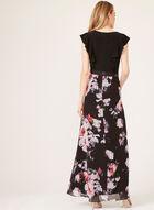 Ruffled Bodice Maxi Dress, Black, hi-res