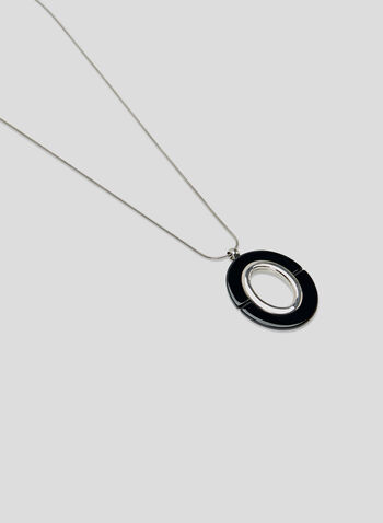 Oval Pendant Necklace, Black, hi-res