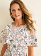 Perceptions - Floral Print Capelet Dress, Pink