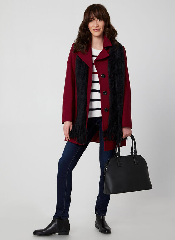 Anne Klein - Mid-Length Wool Coat, Red