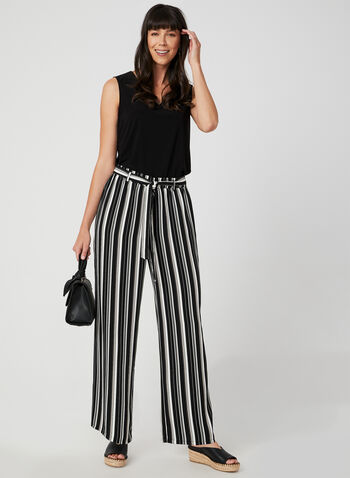 Stripe Print Wide Leg Pants, Black, hi-res,  modern fit, pull-on, belted, fall 2019, winter 2019