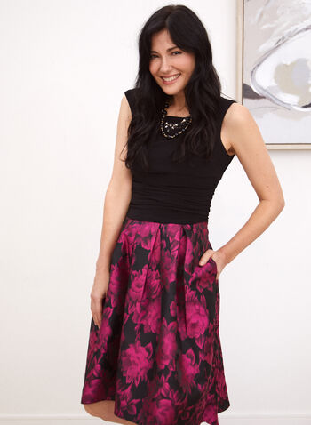 Floral & Monochrome Dress, Black,  dress, cocktail, floral, jacquard, monochrome, jersey, fall winter 2020