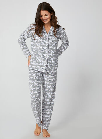 Pillow Talk - Two-Piece Pyjama Set, Grey,  Pillow Talk, sleepwear, pyjama, fleece, cat print, fall 2019, winter 2019