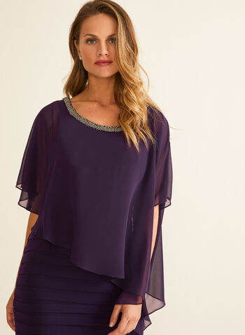 Beaded Detail Poncho Dress, Purple,  cocktail dress, tiered, poncho, chiffon, beaded, sleeveless, round neck, spring summer 2020