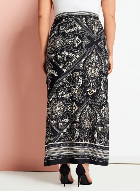 Paisley Print Jersey Maxi Skirt, Black, hi-res