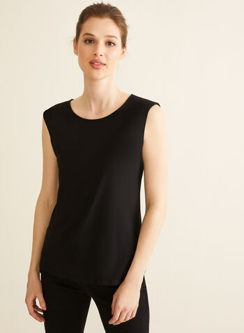 Basic Cap Sleeve Top, Black,  blouse, top, cap sleeves, scoop neck, jersey, spring summer 2020