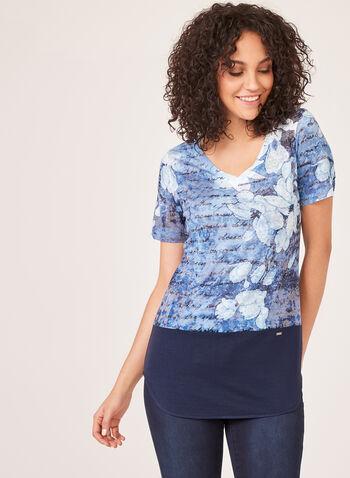 Vex - Short Sleeve Beaded Top, Blue, hi-res