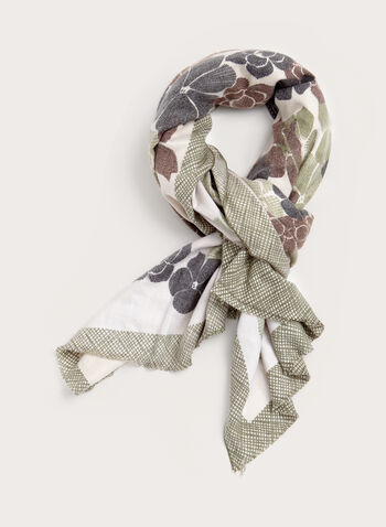Oblong Floral Grid Print Scarf, Green, hi-res