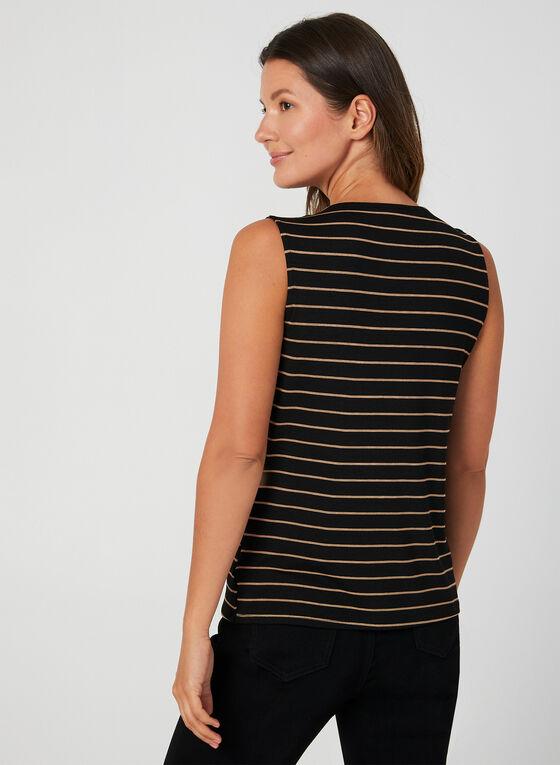 Sleeveless Stripe Print Blouse, Black, hi-res