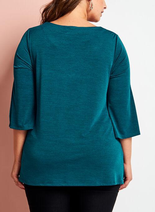 V-Neck Bell Sleeve Top, Blue, hi-res