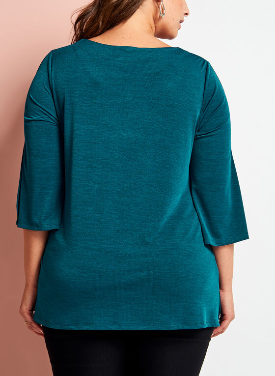 V-Neck Bell Sleeve Top, Blue, hi-res