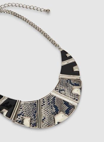 Collier à motif peau de serpent, Noir, hi-res,  automne hiver 2019, collier, plastron, bijou, accessoire, serpent, motif