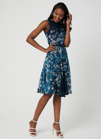 Belted Floral Lace Dress, Blue, hi-res,  fit & flare, spring 2019, sleeveless