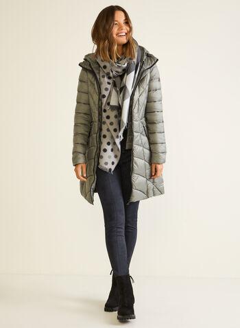 Bernardo - Manteau mi-long matelassé, Argent,  automne hiver 2020, manteau, Bernardo, mi-long, matelassé, cintré, poches, plastron, chevrons, duvet, EcoPlume