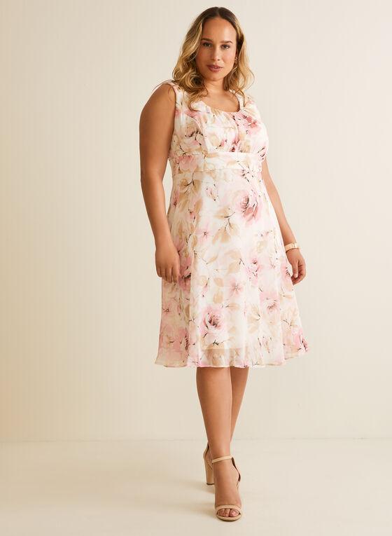 Floral Print Chiffon Day Dress, Pink