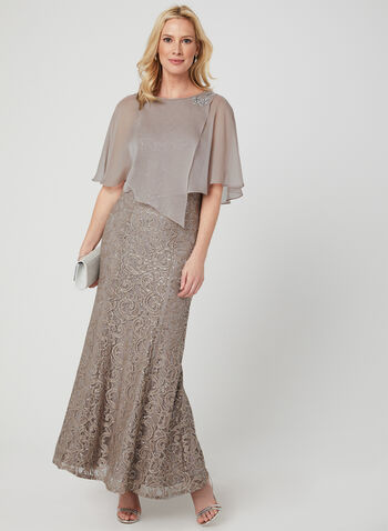 Sequin Lace Dress & Poncho Set, Brown, hi-res,  chiffon, sleeveless, long dress, 2-piece, spring 2019, mermaid