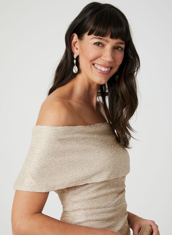 Marina - Textured Off-the-Shoulder Dress, Brown, hi-res