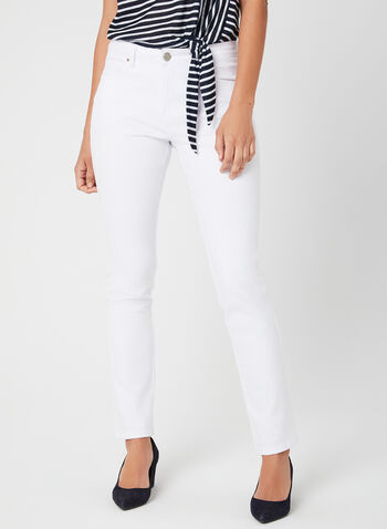 Simon Chang - Signature Fit Straight Leg Jeans, White, hi-res